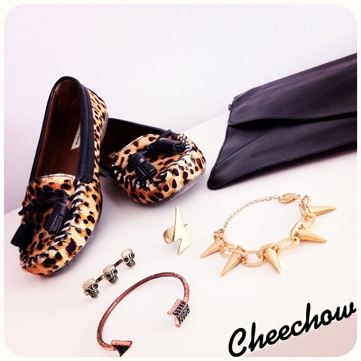 Leopard loafers,clutch bag,bracelets,spikes,skulls,arrow,thunder