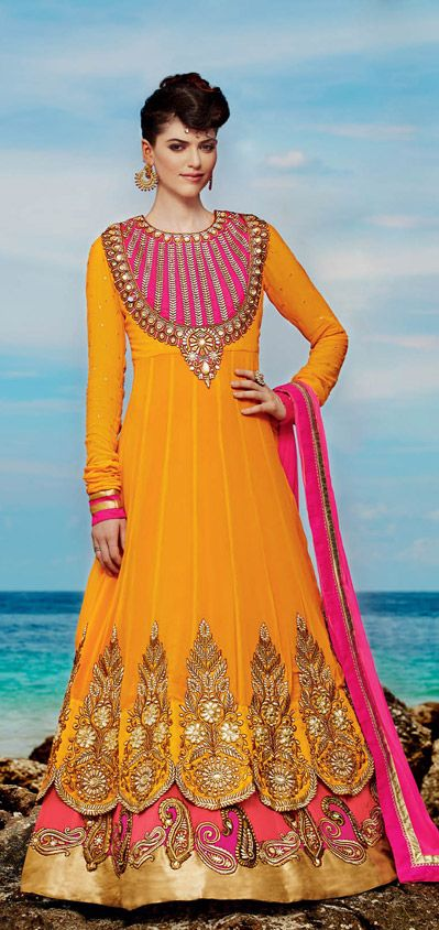 USD 152.44 Yellow Embroidered Layered Abaya Style Suit  36465