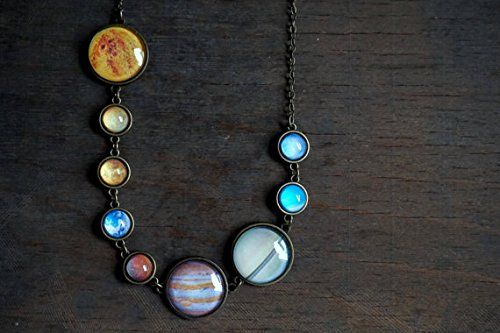 Solar system necklace Planet necklace Space jewelry Caboc...