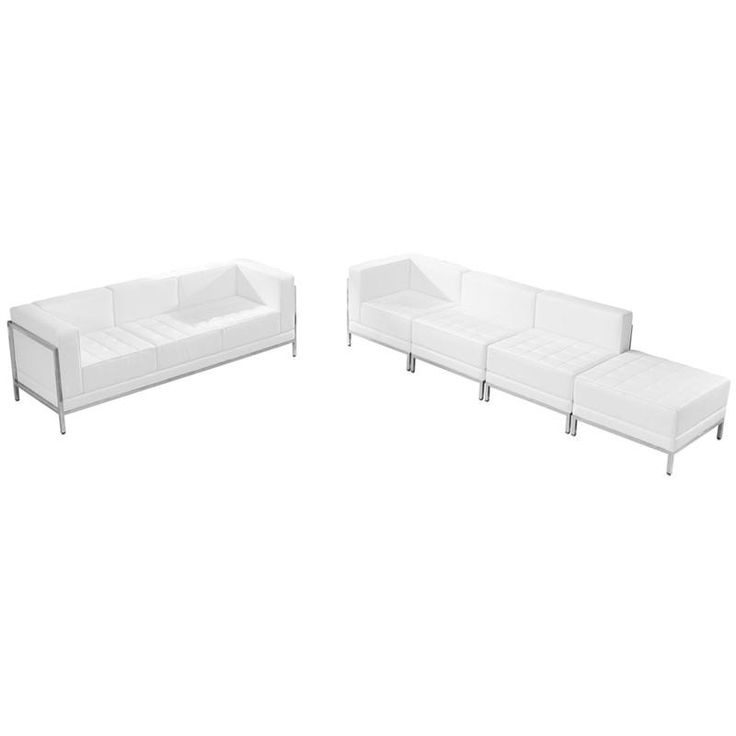 HERCULES Imagination Series White Leather Sofa & Lounge Chair Set, 5 Pieces. Your lobby or reception area is the forefront of your business and providing distinguished and comfortable seating is the first step towards making a great impression. The Imagination Series offers a collection of modular pieces that will allow you to reconfigure the space to accommodate your guests as your business grows. Purchase this complete set and add on any additional pieces now or later…