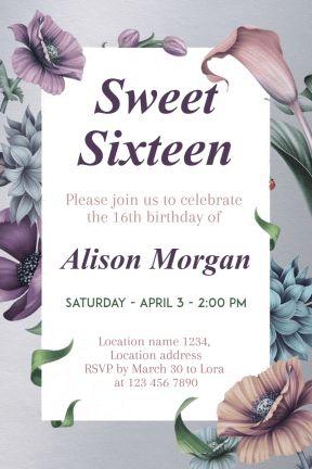 Design amazing party invitations on PixTeller.com #templates #images #photomaker #celebration #inspirational #sweetsixteen #birthdayparty