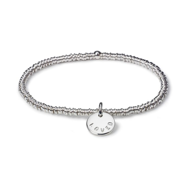 Erin Links with Medium Kathryn Love Letter - This top-selling sterling silver oval bead bracelet reminds us of one from London but it has teeny tiny links! We love the oval links and it looks great with all our other stretch bracelets. Simply stunning.