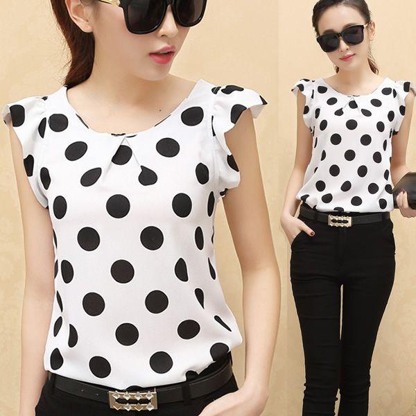 Women Blouse 2015 Summer Female Polka Dots Tops Ladies Casual Chiffon Feminine Blouses Women Work Wear Blusas Women Clothing
