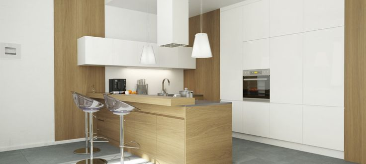Aranżacja jasnej kuchni w stylu nowoczesnym projektu GLOBALO - więcej na 24pro.pl