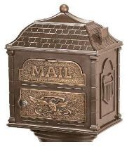 Gaines Mailboxes | Classic Pedestal Mailbox Package - Black with Antique Bronze | Residential Mailbox