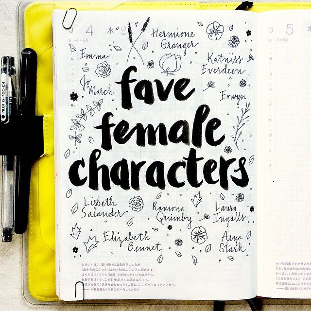 Who are your favorite female fictional characters? #hobonichi #journal…