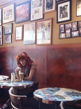 A latte in the Trieste cafe, San Francisco
