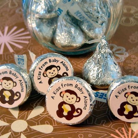 monkey themed baby shower favors | Girl Monkey Chocolate Kiss Labels - ABC Favors