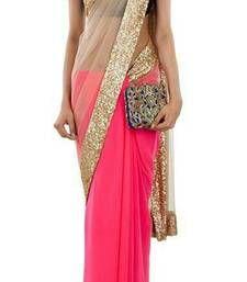 Buy pink plain net saree With Blouse net-saree online