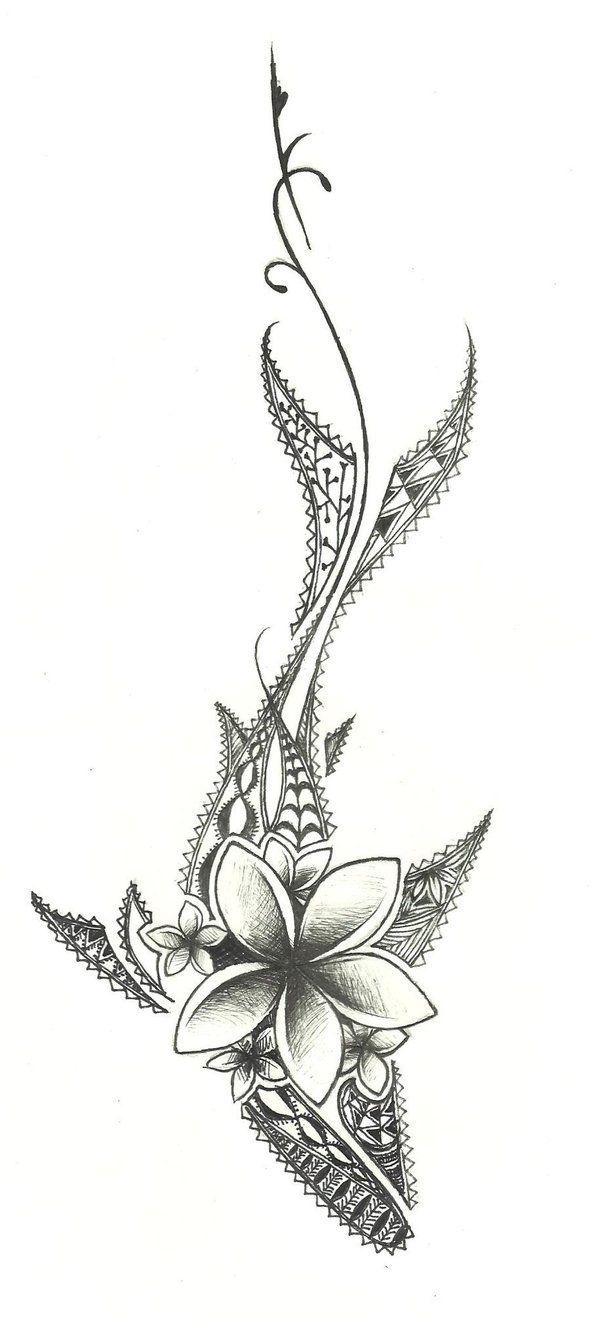 Shark and plumeria flowers