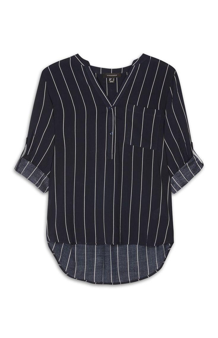 Primark - Donkerblauw gestreepte viscose blouse