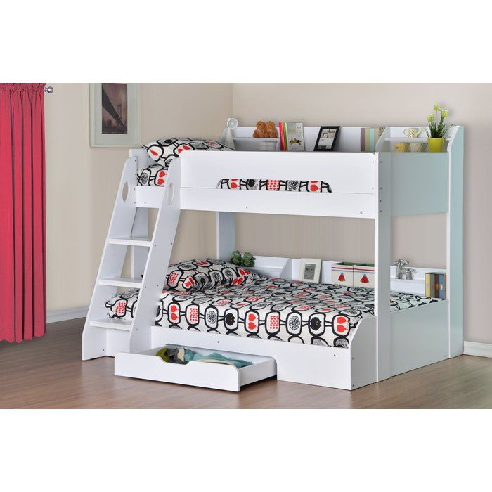 The Flick Triple Sleeper Bunk Bed consists of a stylish white finish, providing a modern, contemporary feel. Whilst looking great in your child's bedroom, this bed frame is also extremely practical and brilliant storage solution, with handy shelving on both bunks combined with a spacious underbed drawer. The ladder to the top bunk has been built with safety in mid, deep steps and handles at the top of the ladder allow safe and easy access to the top bunk.