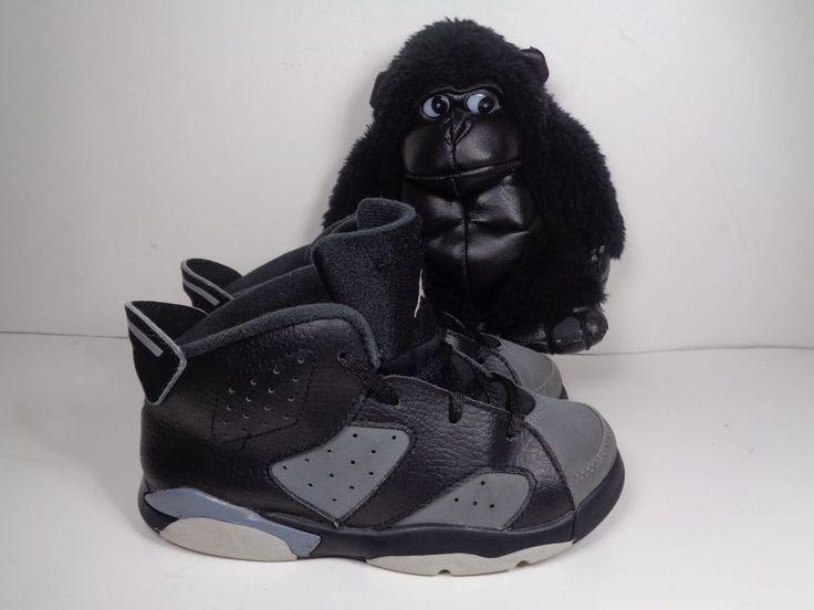 Babies Nike Air Jordan 6 Retro Black Cool Grey Basketball Shoes size 10C Toddler #Nike #basketball