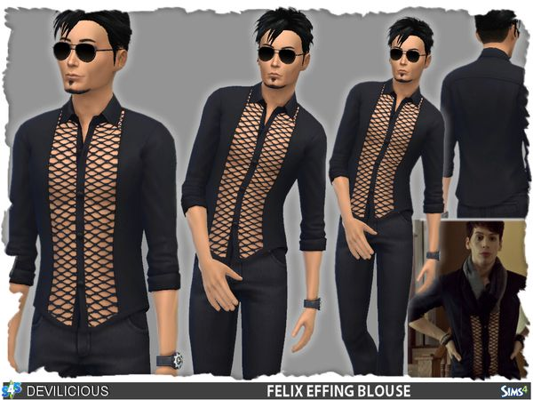 Felix Effing Blouse by Devilicious at TSR • Sims 4 Updates