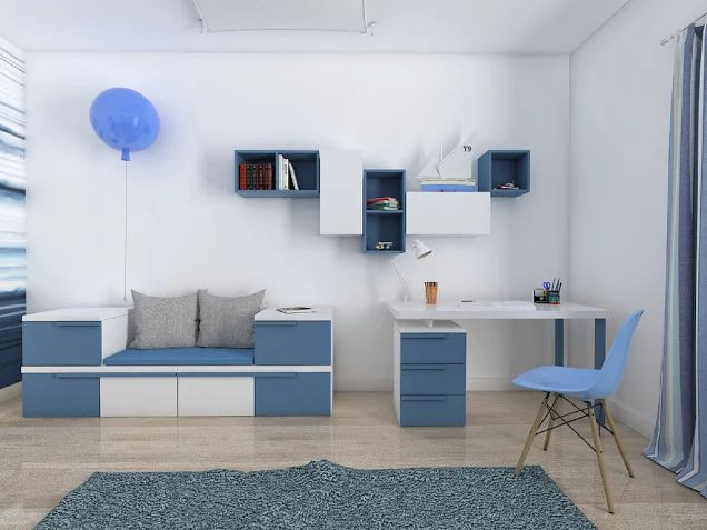 White and blue modern nautical theme room for boy by Colorato.   www.colorato.pl