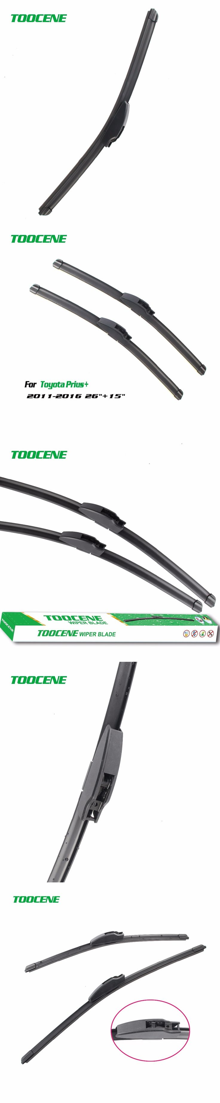 "Toocene  Wiper Blades For Toyota Prius+ 2011-2016 size26""+15""Windscreen  Rubber Car Accessories"