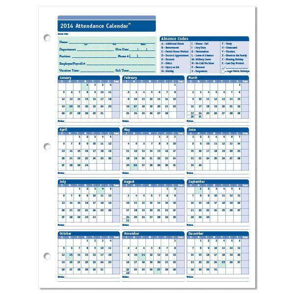 2014 Attendance Calendar To Print 2014 Employee Attendance Calendar