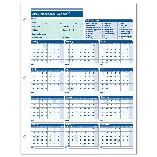 2018 employee attendance calendar printable