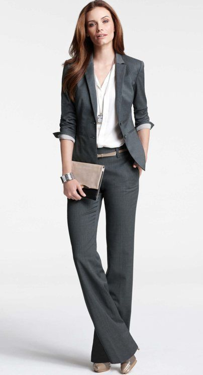 I know I said 'fuck pantsuits' but this one from ann taylor looks pretty good. i would probably mix & match different color jacket and slacks instead of a monochrome head-to-toe look, just personal preference.