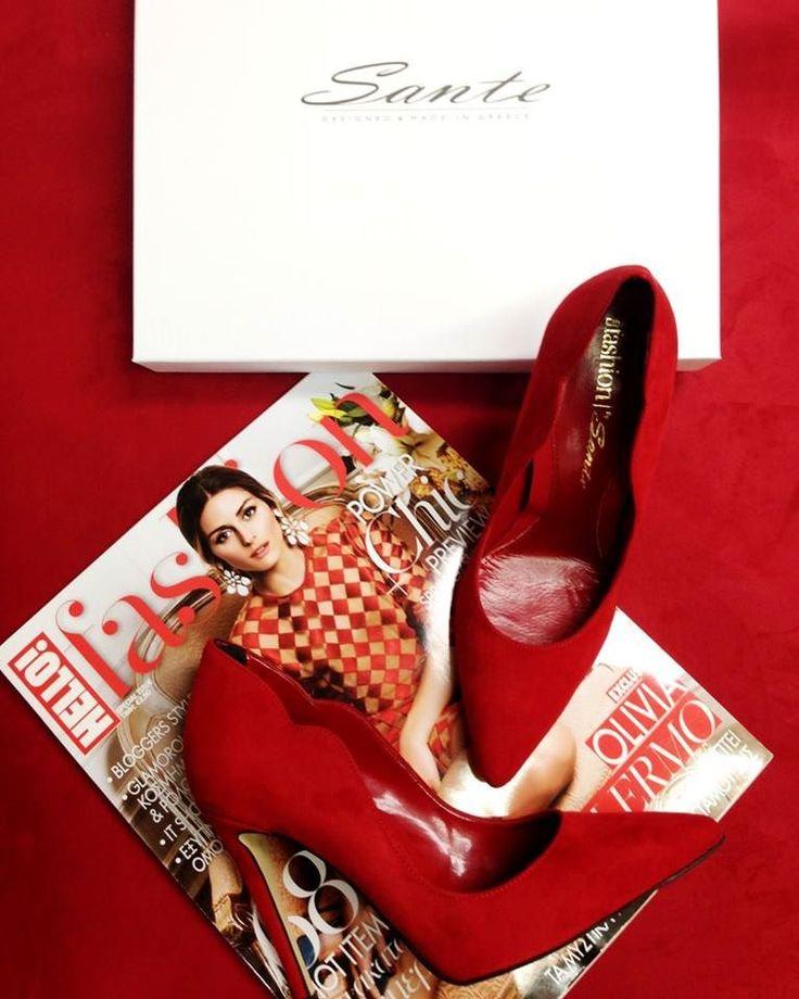 We celebrate the special edition of Hello! Fashion magazine in Greece (cc: Hello! magazine (Greece)) with SANTE custom made red high heel pumps #hellofashiongr #followSANTE