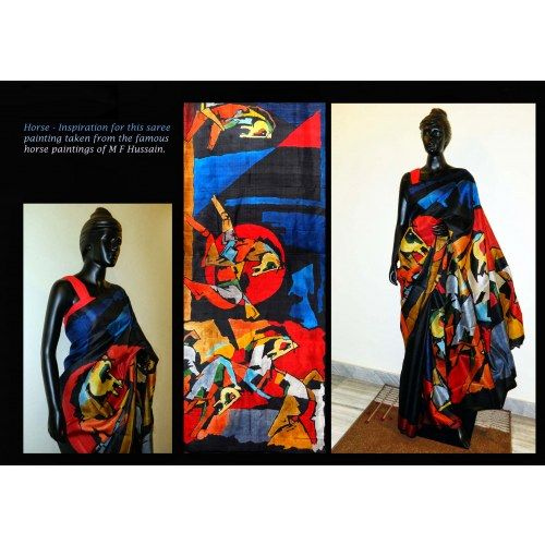 M F Hussain Painting Inspired Hand painted Bishnupur Sonamukhi Silk Saree - Online Shopping for Silk Sarees by Crystelle Boutique