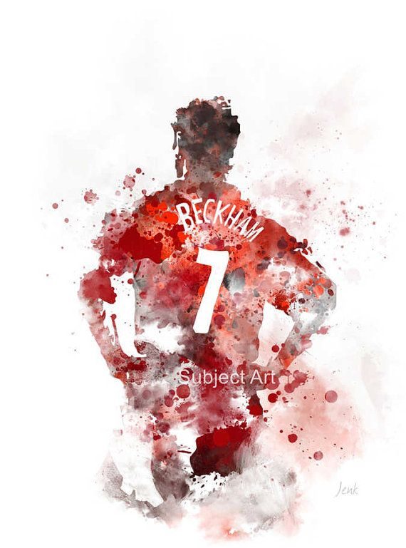 David Beckham ART PRINT illustration Manchester United