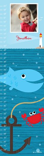 baby growth chart- nautical theme with whales and crabs – Paper Coterie