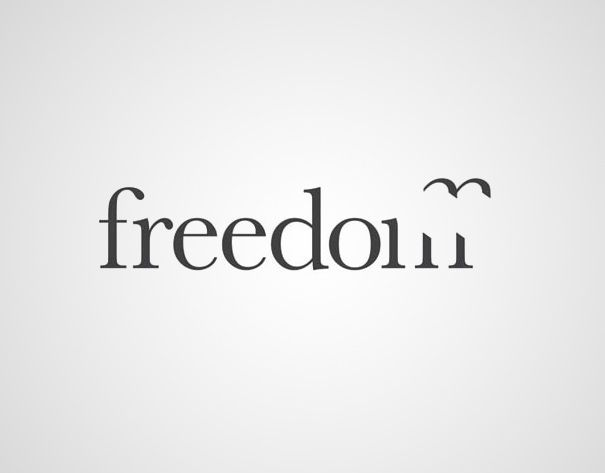 "http://www.thechase.co.uk/casestudy/the-co-operative-freedom-travel/    A part of letter ""m"" flies away like a free bird symbolizing freedom. (Designed by Jens Wickelgren). A group called Freedom Travels always had a gull in their logo. In the former logo, the gull was illustrated along the font, their elements separate. The final solution ended with the m becoming the gull itself."