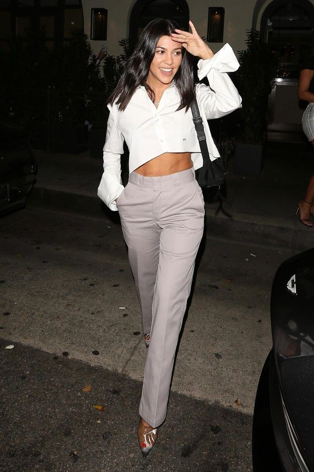 fda02ebebd35db Kourtney Kardashian wearing Yeezy Season 7 PVC pumps, Off-White c/o Virgil  Abloh Crop Shirt