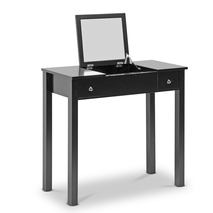 Enhance your grooming ritual with this classic vanity complete with flip-up mirror. The sleek black finish of this dressing table fits in any decor, and its built-in storage features keep your beauty supplies organized.