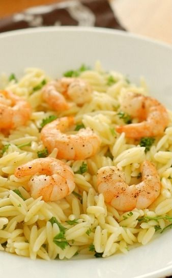 Lemon Pepper Shrimp Orzo - A Kitchen Addiction