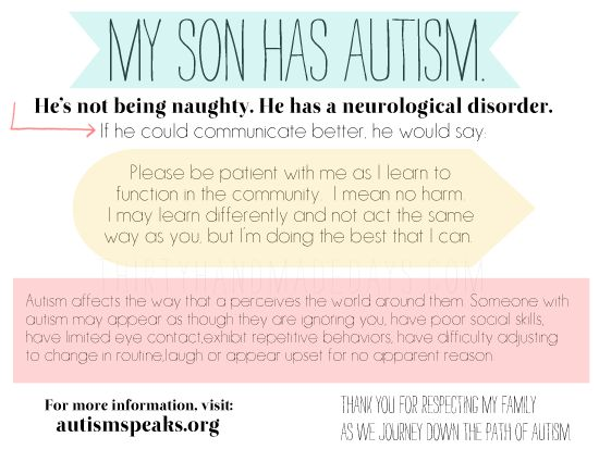 """This is a post about autism and Disney World, but I'm pretty sure that the """"tips"""" could really apply to every outing..... And my absolute FAVORITE part of this post is the printable card toward the end of the post that you can hand out to people if your kiddo has a melt down........ (I love the polite """"kiss-my-ass-and-shove-off"""" message it more or less gives.....)"""
