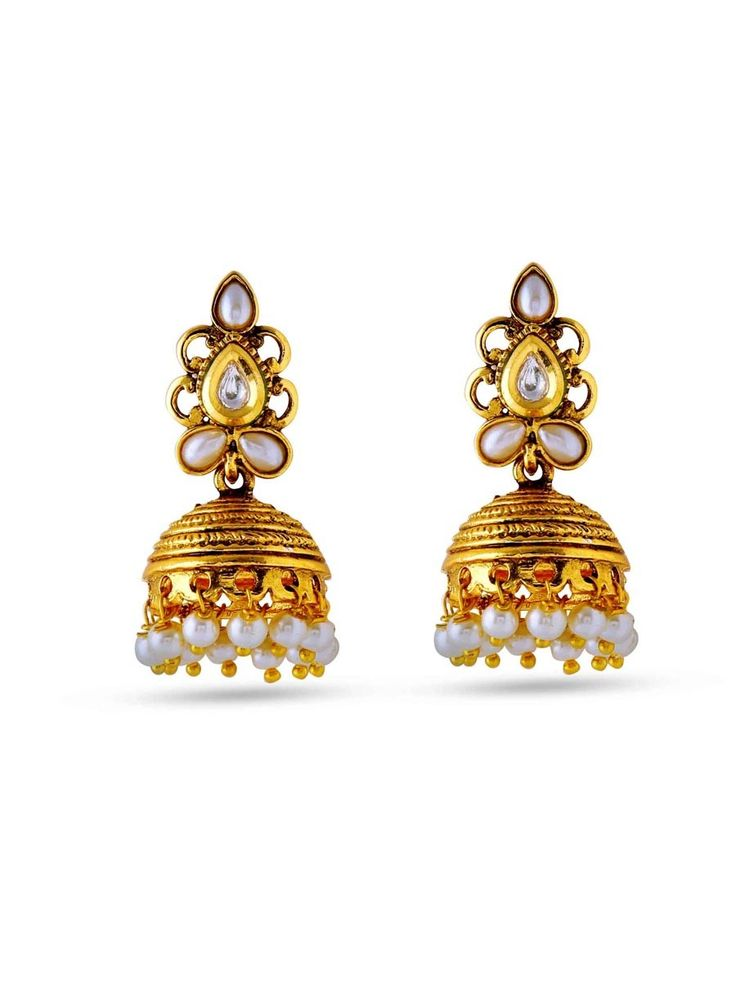 Imaginative gold plated brass metal earrings with pearls work Item Code: JRUM619 http://www.bharatplaza.com/new-arrivals/jewellery.html
