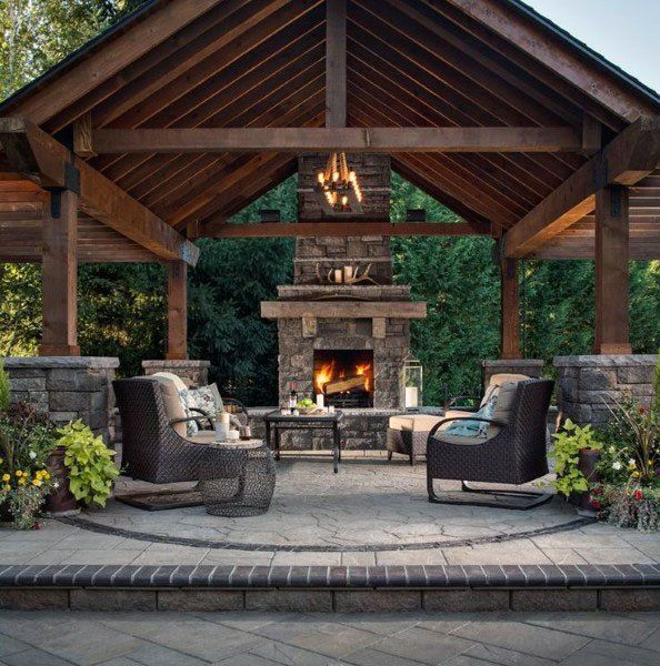 Top 50 Best Backyard Pavilion Ideas - Covered Outdoor ... on Fireplace In The Backyard id=89525