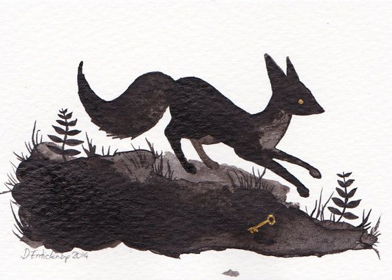 Fox and Key - ACEO - Original Art Card Illustration available on Etsy