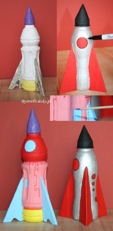 Rakieta kosmiczna z butelki wykonana techniką papier mache przykładem zabawki dla dzieci wykonanej w ramach zajęć plastycznych dla dzieci