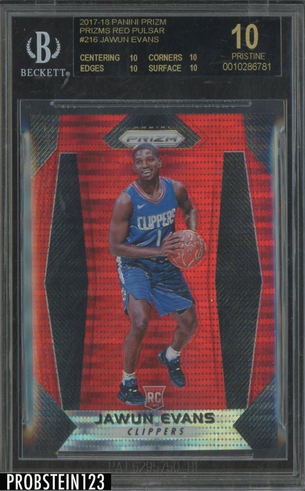 adf2a9a91b4 2017-18 Panini Prizm Red Pulsar  216 Jawun Evans RC  25 BGS 10 BLACK ...