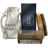 Man&Beard  Handmade Bamboo Beard Dual Action Comb and Bamboo Brush with Wild Boar Bristles for Men. Perfect Facial Hair Care and Growth Kit for Beard and Mustache Styling in Premium Gift Box