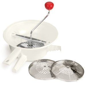 Rotary food mill. Nice for soups and baby food...keeps more texture in the food versus a food processor.