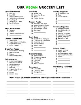 Whether you're a new vegan or a seasoned vegan veteran, this list of vegan foods and household items will be a big help at the grocery store. All the foods on this list are vegan safe, so if someone else is doing your shopping for you, send this list along with them! Free to download and print