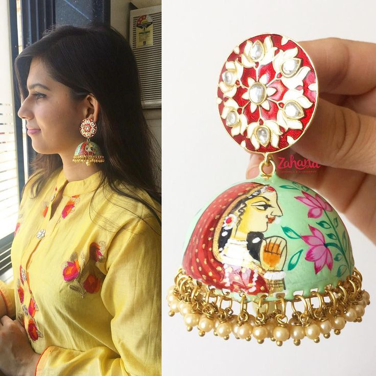 "527 Likes, 20 Comments - Zahana (@zahanachennai) on Instagram: ""Big Hand painted Rani Jhumkas~ A pair of statement earrings that will make heads turn #zahana…"""