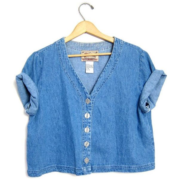Vintage cropped denim shirt 90s Button up jean tshirt Crop top tee... ($26) ❤ liked on Polyvore featuring tops, t-shirts, denim shirt, blue button up shirt, blue denim shirt, short sleeve denim shirt and t shirts