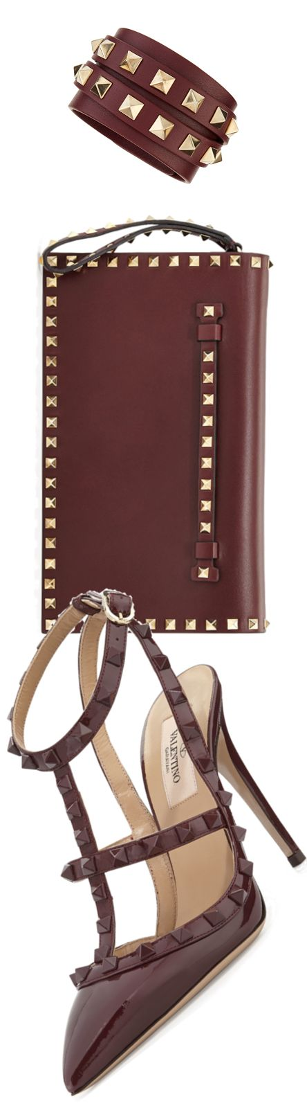 Valentino ~ Burgundy 'Rockstud' Patent Leather Clutch + Sandal