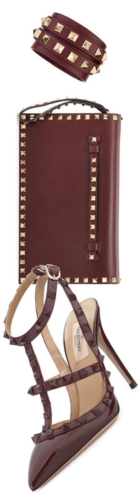 Valentino ~ Burgundy 'Rockstud' Patent Leather Clutch + Sandal