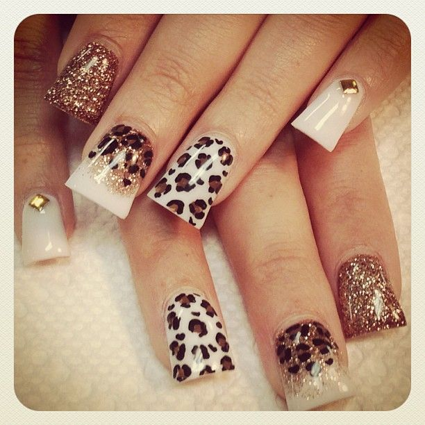 Love this combination of colors and patterns - Leopard Print nail art