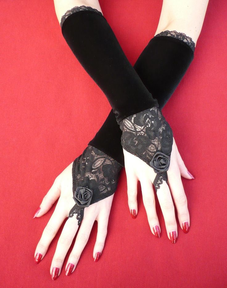 Vampire Wedding fingerless Gloves, Special Occasion, Black Velvet Armwarmers with Lace in Baroque and Renaissance Style, Etsy