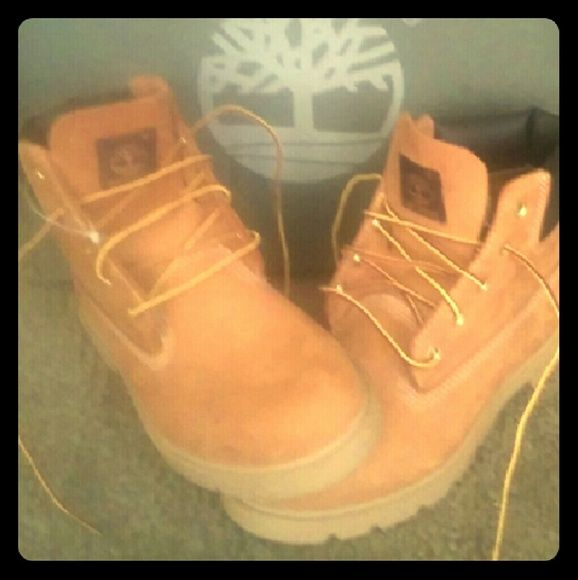 Brand New Classic Wheat Timberland Boots Brand New Never Worn Classic Timbs. Just wasting space in my closet. I may trade, depending on the condition and brand it is.  Durable Taslan laces keeps you lacing up longer. EVA midsole supplies cushioning and comfort. Rubber sole with lugged traction pattern supplies traction on a variety of surfaces. Timberland Shoes Winter & Rain Boots