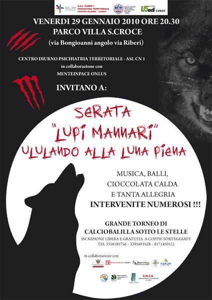 SERATA DEI LUPI MANNARI - CENA FESTA A TEMA - DEPLIANT, LOCANDINA, INVITI, STRISCIONI, GRAFICA, IDEA HORROR #horror #paura #lupo #lupomannaro #lupi #Halloween #luna luna piena #mostri #mostro #cena #menu  #pubblicità #promozione #depliant #dronero #cuneo #piemonte #italia #gem