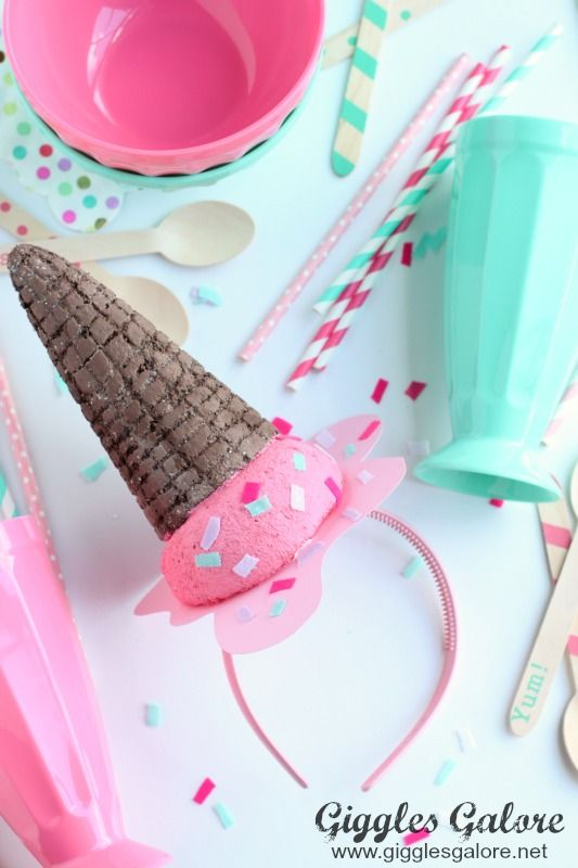 This DIY Melting Ice Cream Cone Headband is the perfect accessory for any ice cream themed party or occasion.