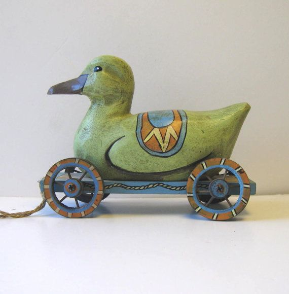 Vintage Wood Pull Toy Duck Animal Home Decor by jewelryandthings2, $32.00